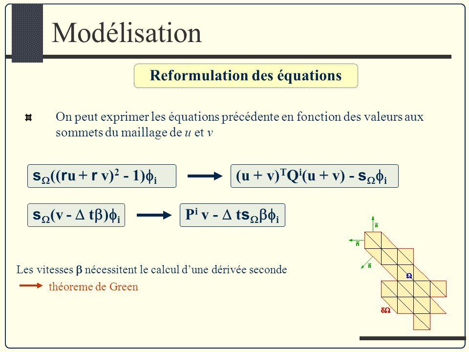 Reformulation des équations