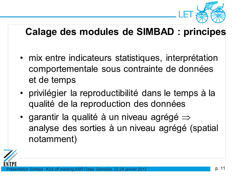 Calage des modules de SIMBAD : principes