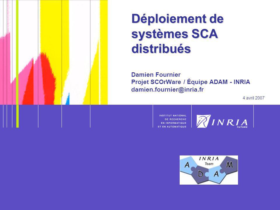 Déploiement de systèmes SCA distribués Damien Fournier Projet SCOrWare / Équipe ADAM - INRIA damien.fournier@inria.fr