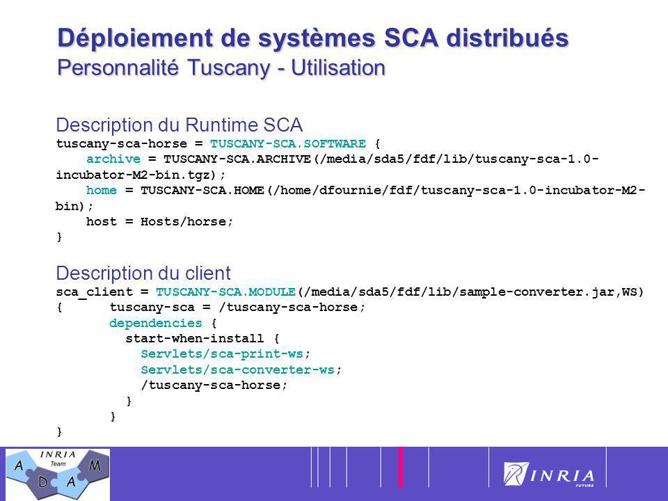 Déploiement de systèmes SCA distribués Personnalité Tuscany - Utilisation