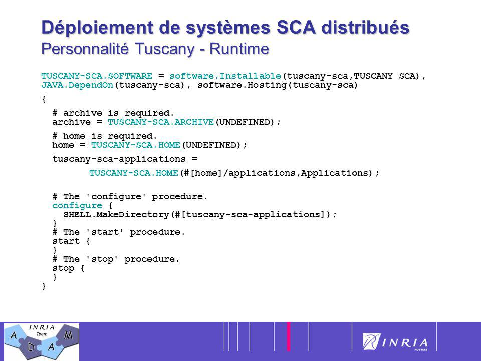 Déploiement de systèmes SCA distribués Personnalité Tuscany - Runtime