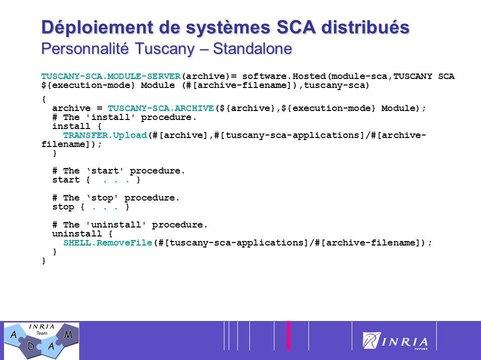 Déploiement de systèmes SCA distribués Personnalité Tuscany – Standalone