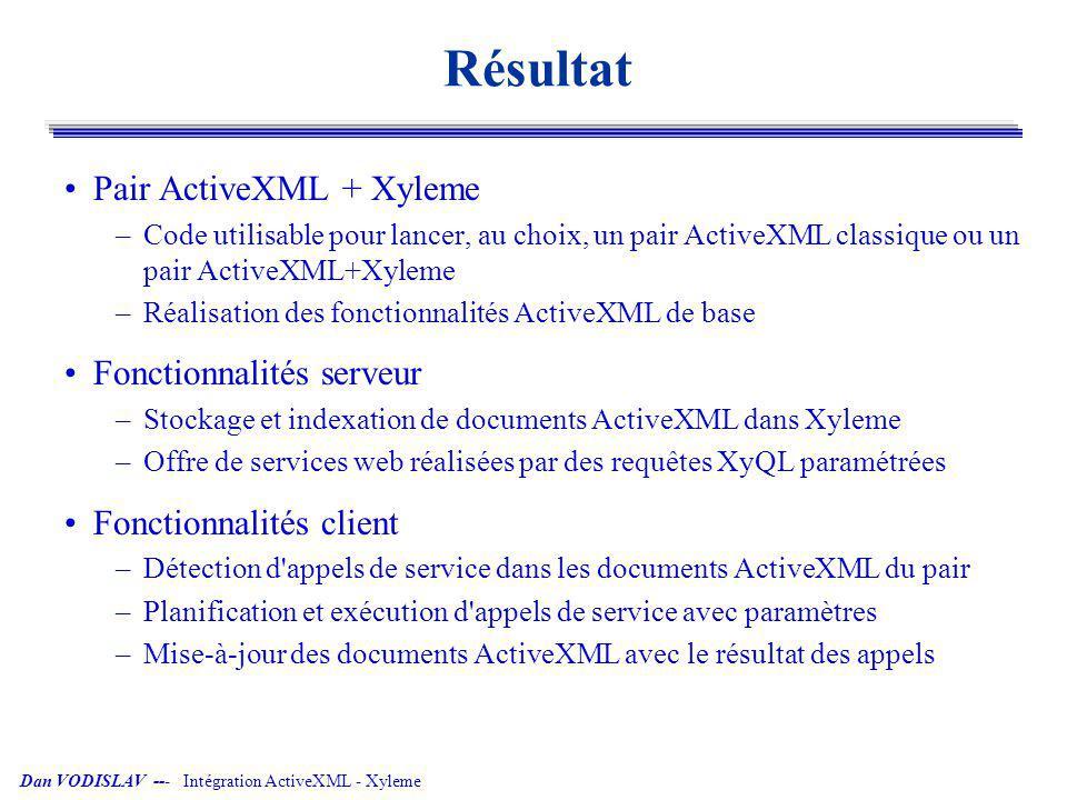Résultat Pair ActiveXML + Xyleme Fonctionnalités serveur