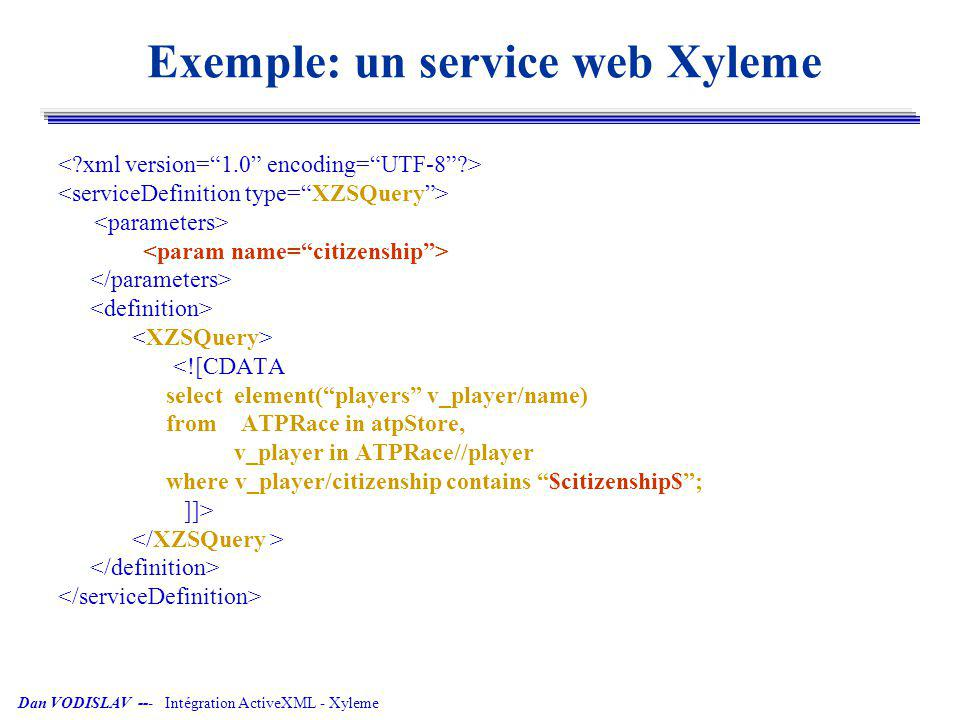 Exemple: un service web Xyleme