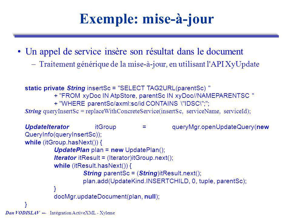Exemple: mise-à-jour Un appel de service insère son résultat dans le document. Traitement générique de la mise-à-jour, en utilisant l API XyUpdate.