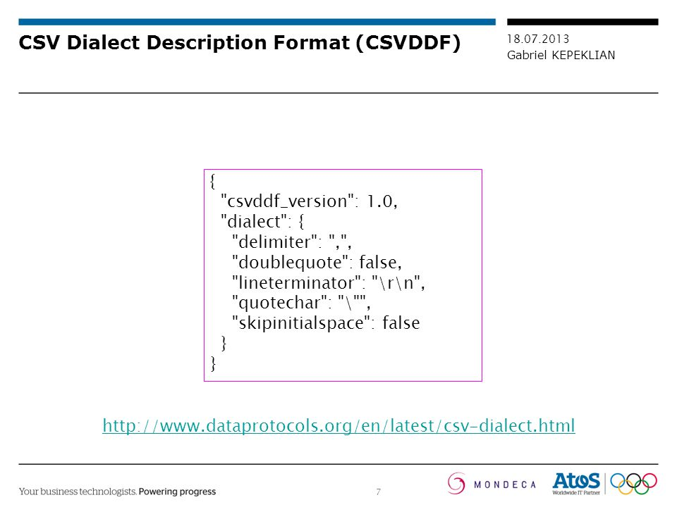 CSV Dialect Description Format (CSVDDF)