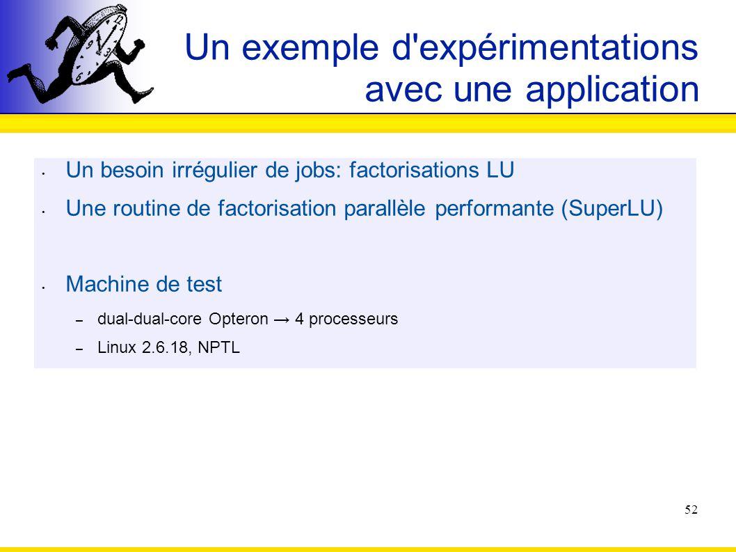 Un exemple d expérimentations avec une application