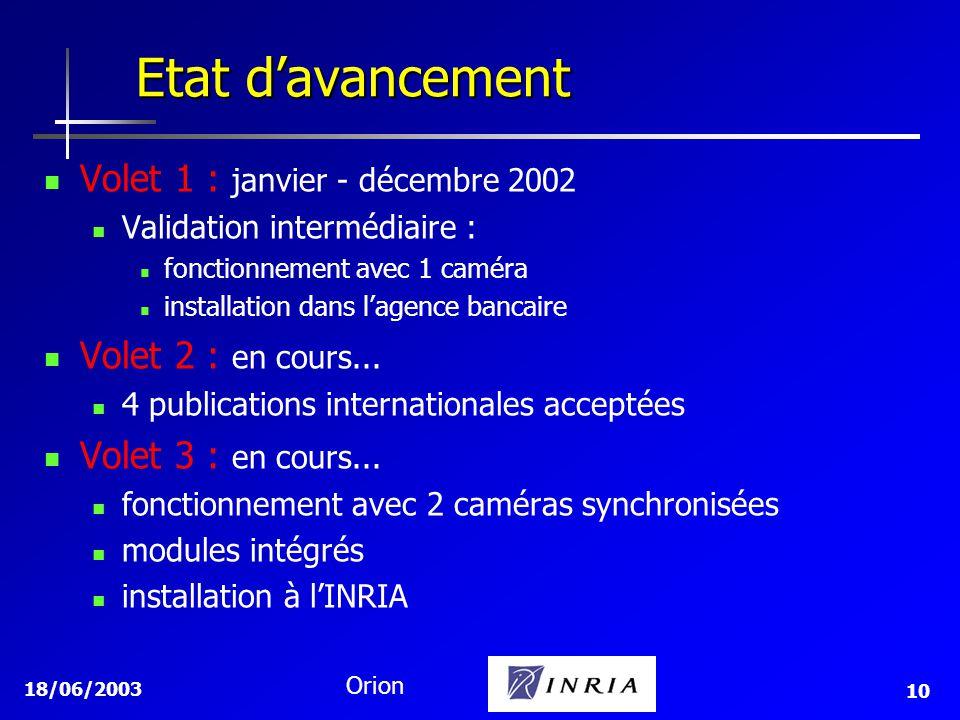 Etat d'avancement Volet 1 : janvier - décembre 2002