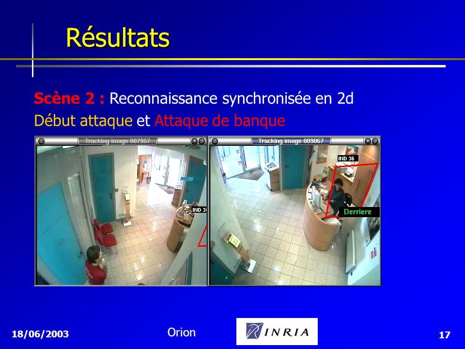 Résultats Résultats Scène 2 : Reconnaissance synchronisée en 2d