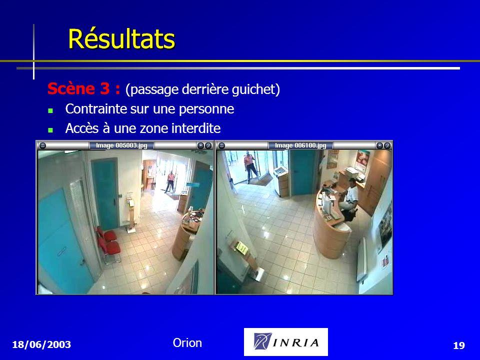 Résultats Résultats Scène 3 : (passage derrière guichet)