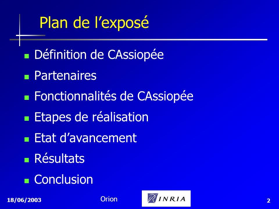 Plan de l'exposé Définition de CAssiopée Partenaires