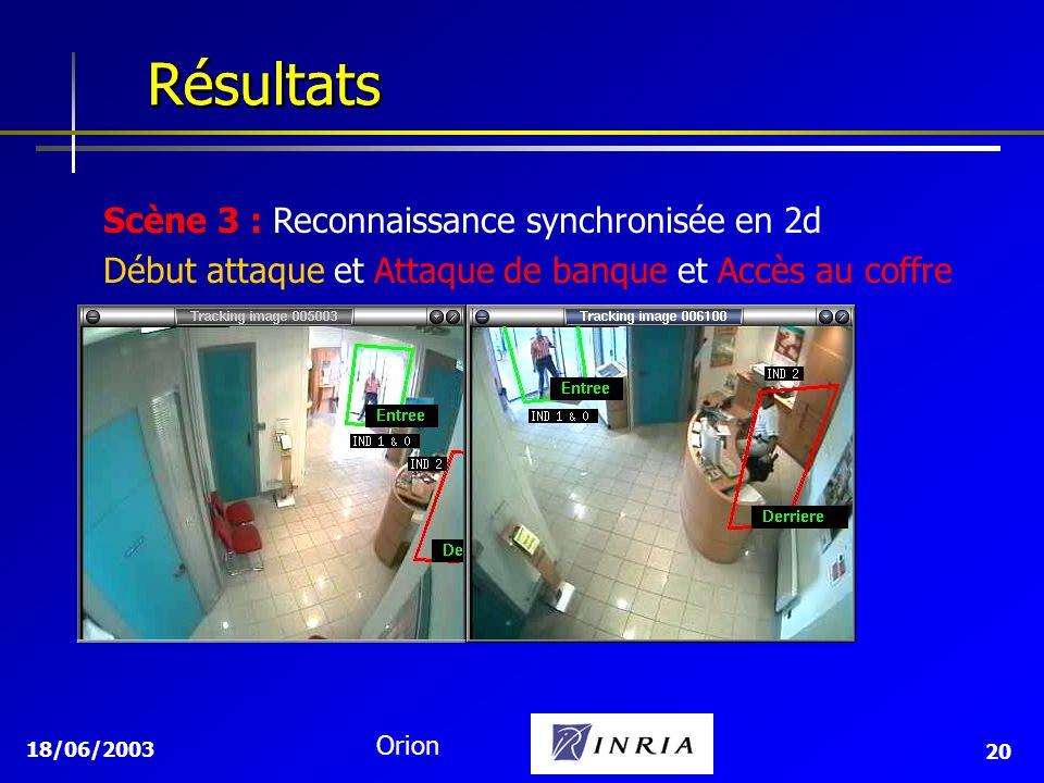 Résultats Résultats Scène 3 : Reconnaissance synchronisée en 2d