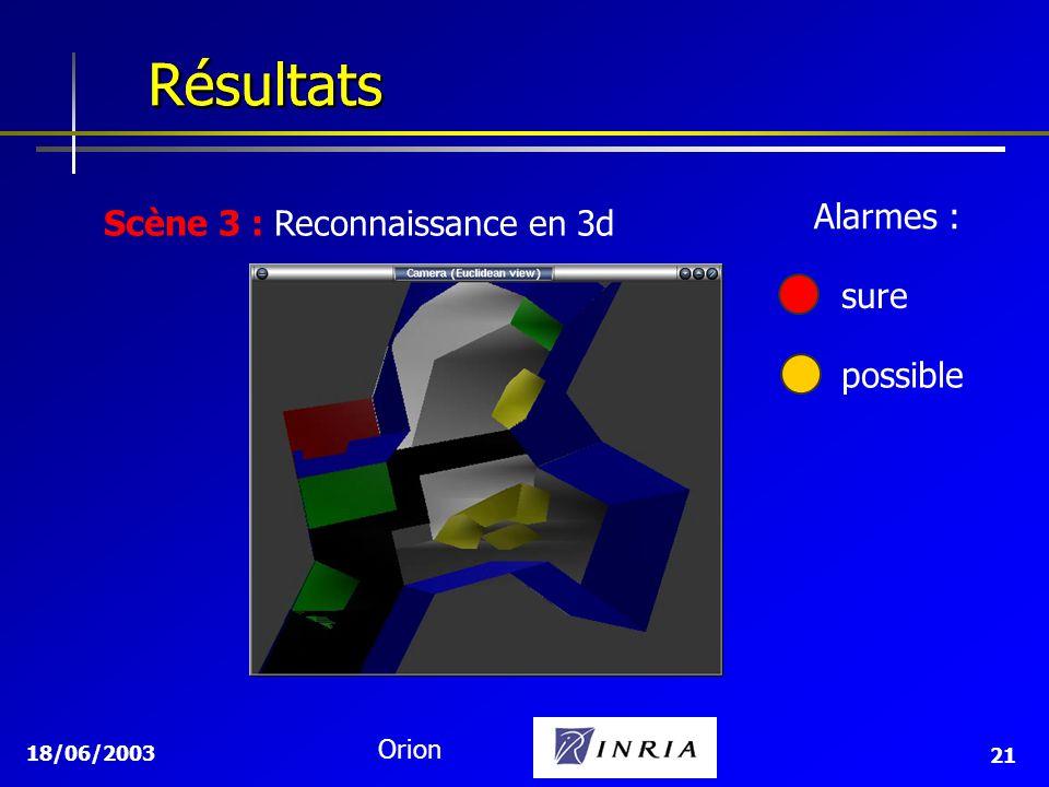 Résultats Résultats Alarmes : Scène 3 : Reconnaissance en 3d sure