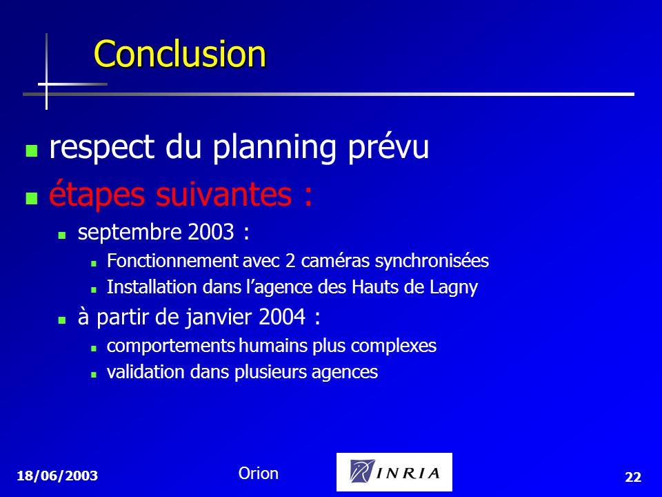 Conclusion respect du planning prévu étapes suivantes :