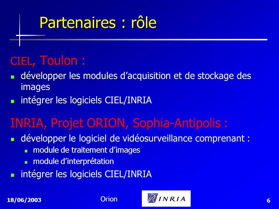 Partenaires : rôle INRIA, Projet ORION, Sophia-Antipolis :