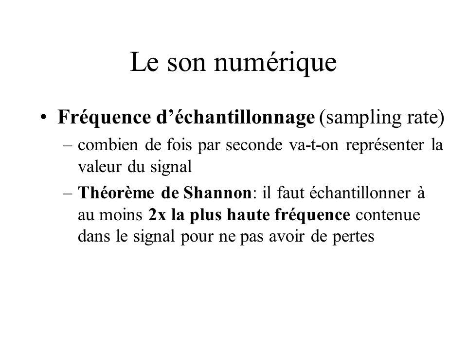 Le son numérique Fréquence d'échantillonnage (sampling rate)