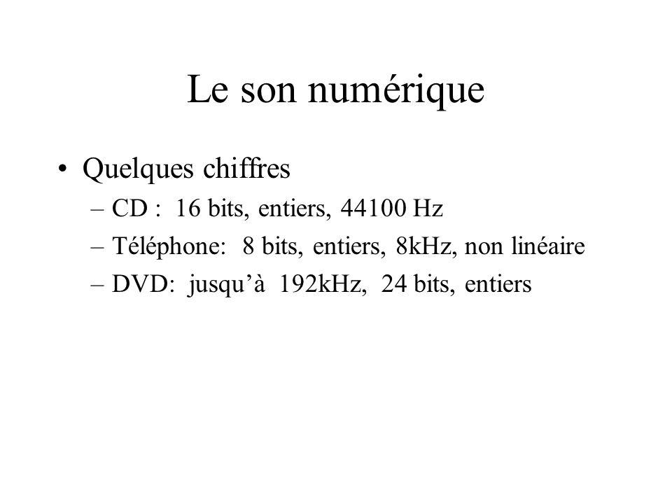 Le son numérique Quelques chiffres CD : 16 bits, entiers, 44100 Hz