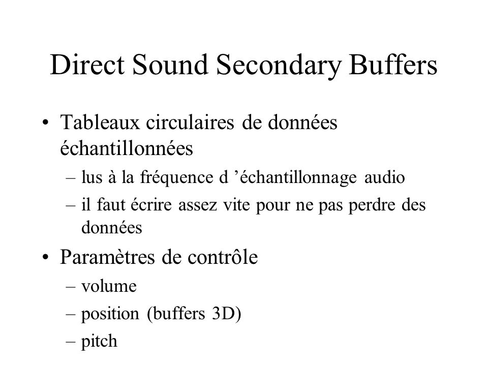Direct Sound Secondary Buffers