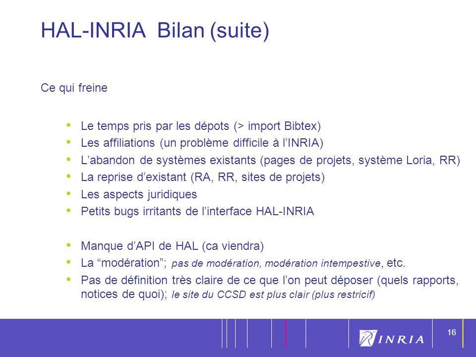 HAL-INRIA Bilan (suite)