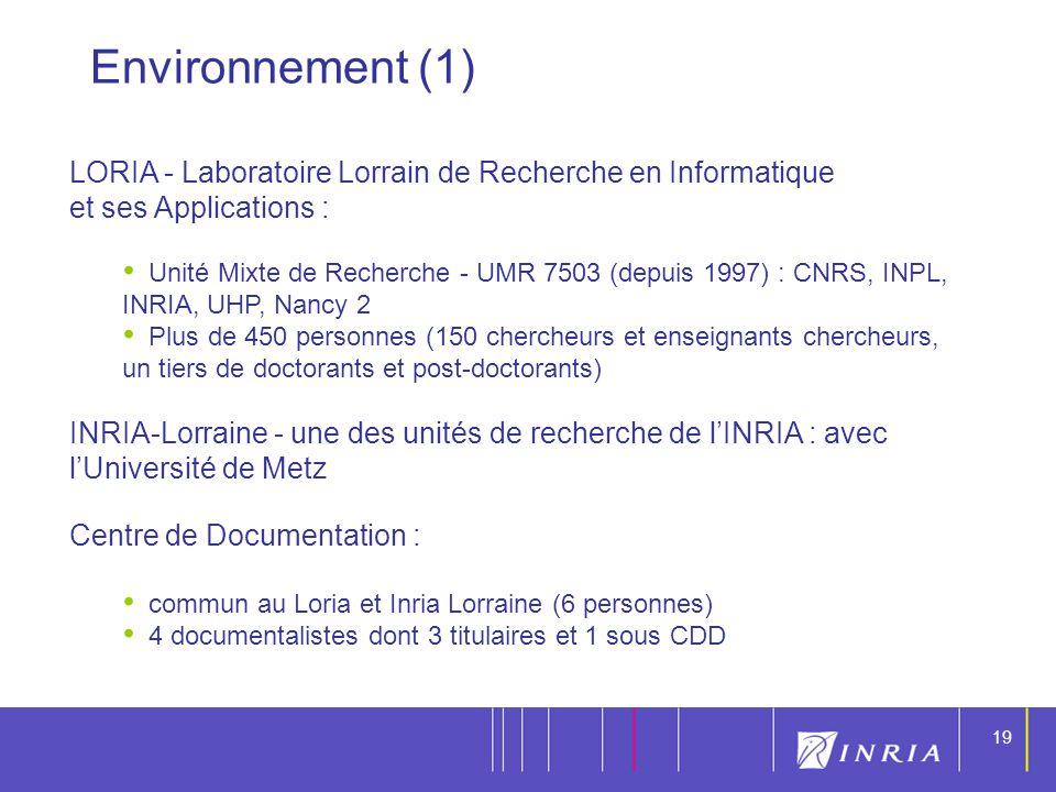 Environnement (1) LORIA - Laboratoire Lorrain de Recherche en Informatique. et ses Applications :