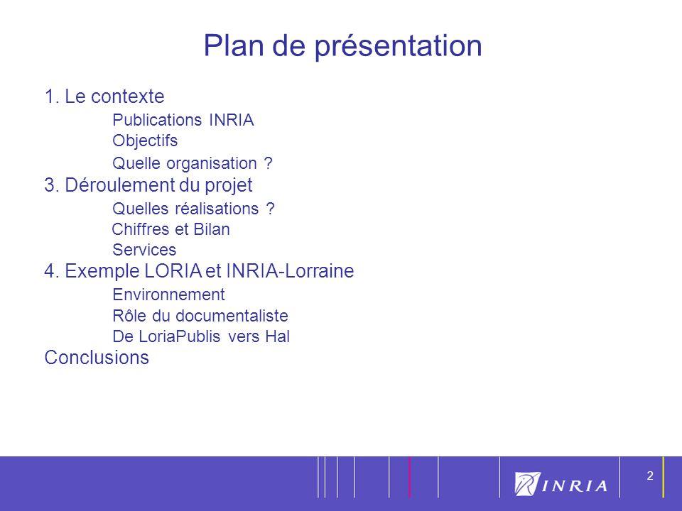 Plan de présentation 1. Le contexte Publications INRIA