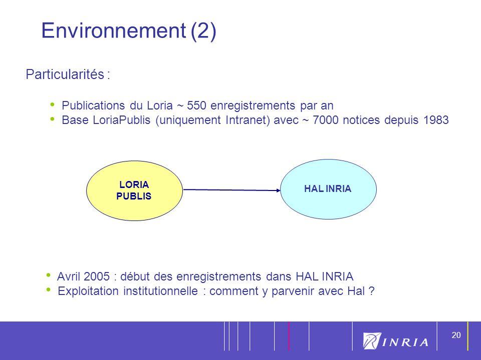 Environnement (2) Particularités :