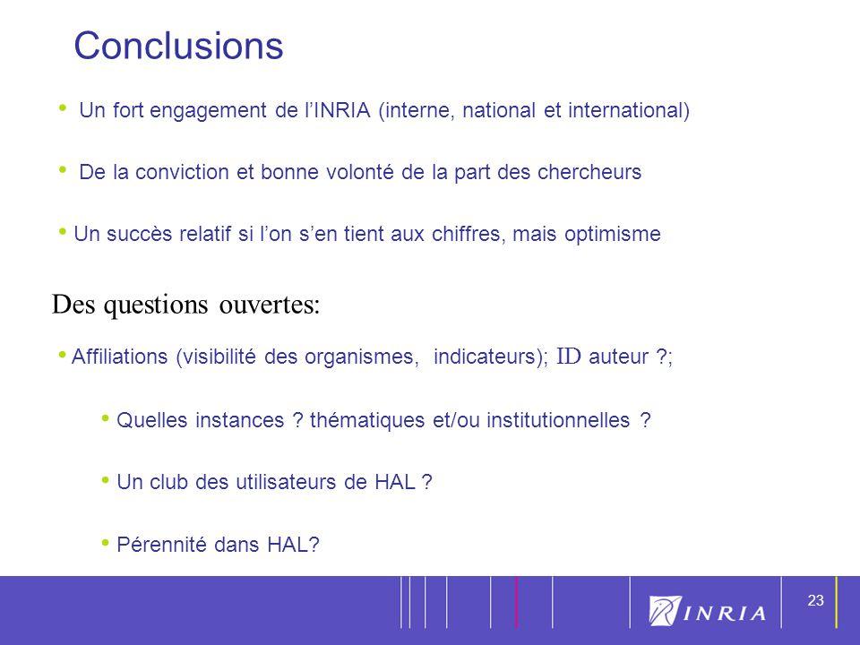 Conclusions Des questions ouvertes:
