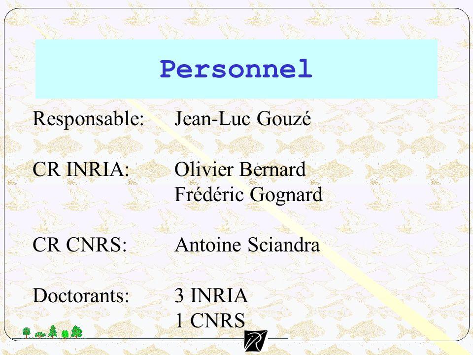 Personnel Responsable: Jean-Luc Gouzé CR INRIA: Olivier Bernard