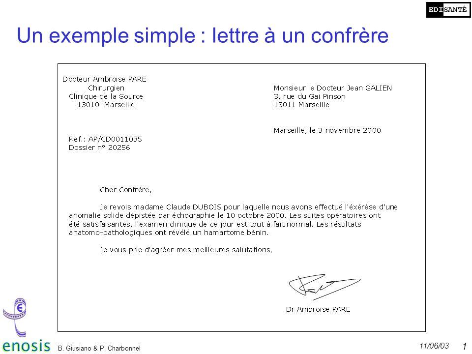 Un exemple simple : lettre à un confrère