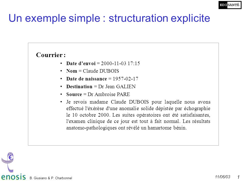 Un exemple simple : structuration explicite