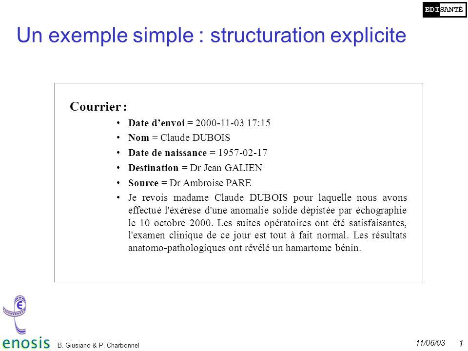 Un exemple simple : structuration explicite