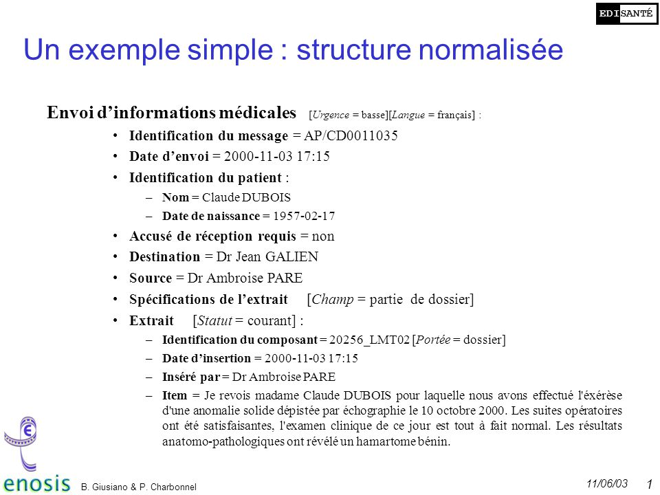 Un exemple simple : structure normalisée