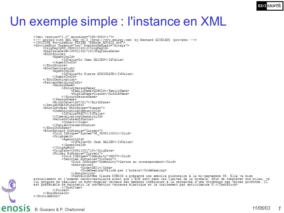 Un exemple simple : l instance en XML