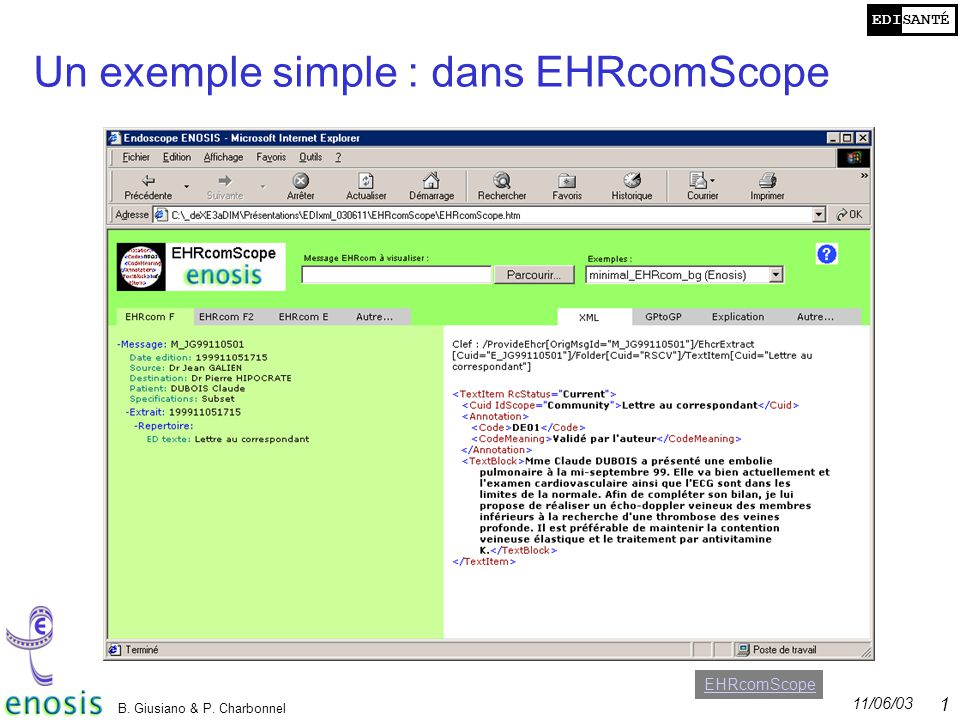 Un exemple simple : dans EHRcomScope