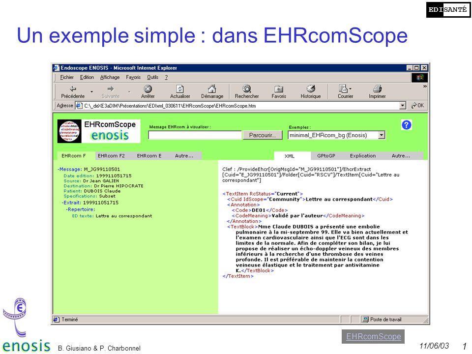 Un exemple simple : dans EHRcomScope