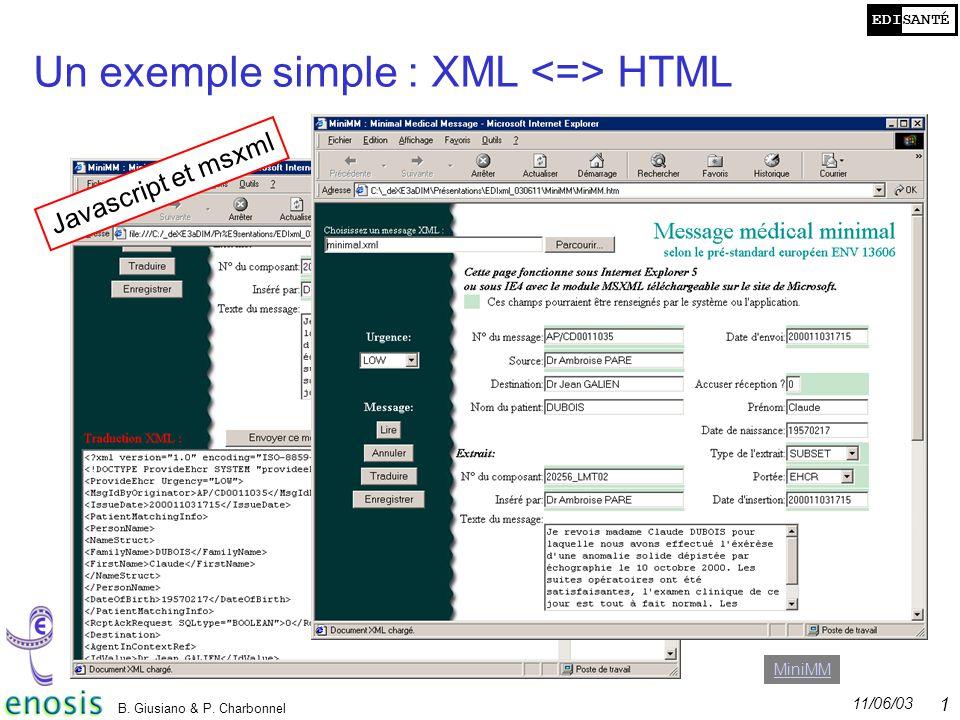 Un exemple simple : XML <=> HTML