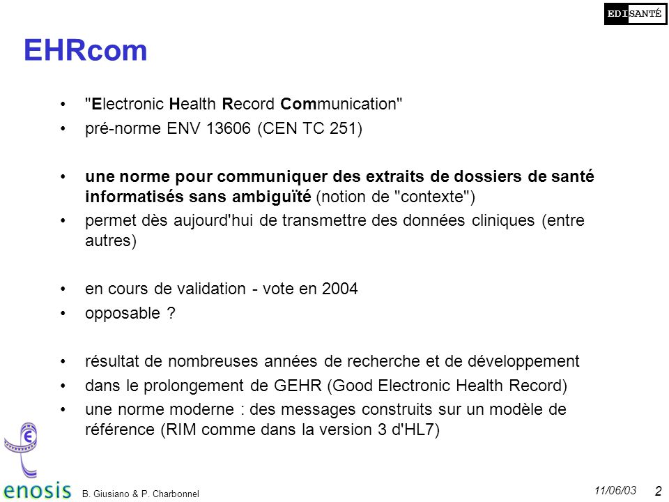 EHRcom Electronic Health Record Communication
