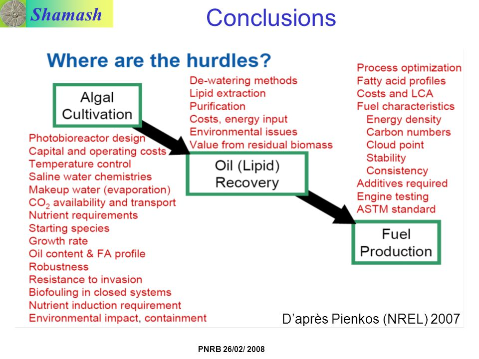 Conclusions D'après Pienkos (NREL) 2007 Conclusion un peu « courte »