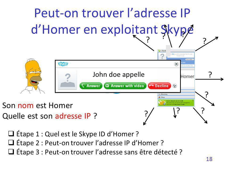Peut-on trouver l'adresse IP d'Homer en exploitant Skype