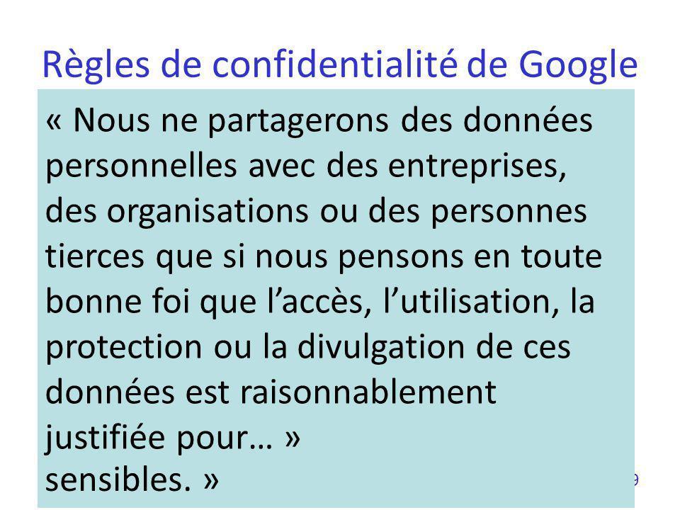 Règles de confidentialité de Google