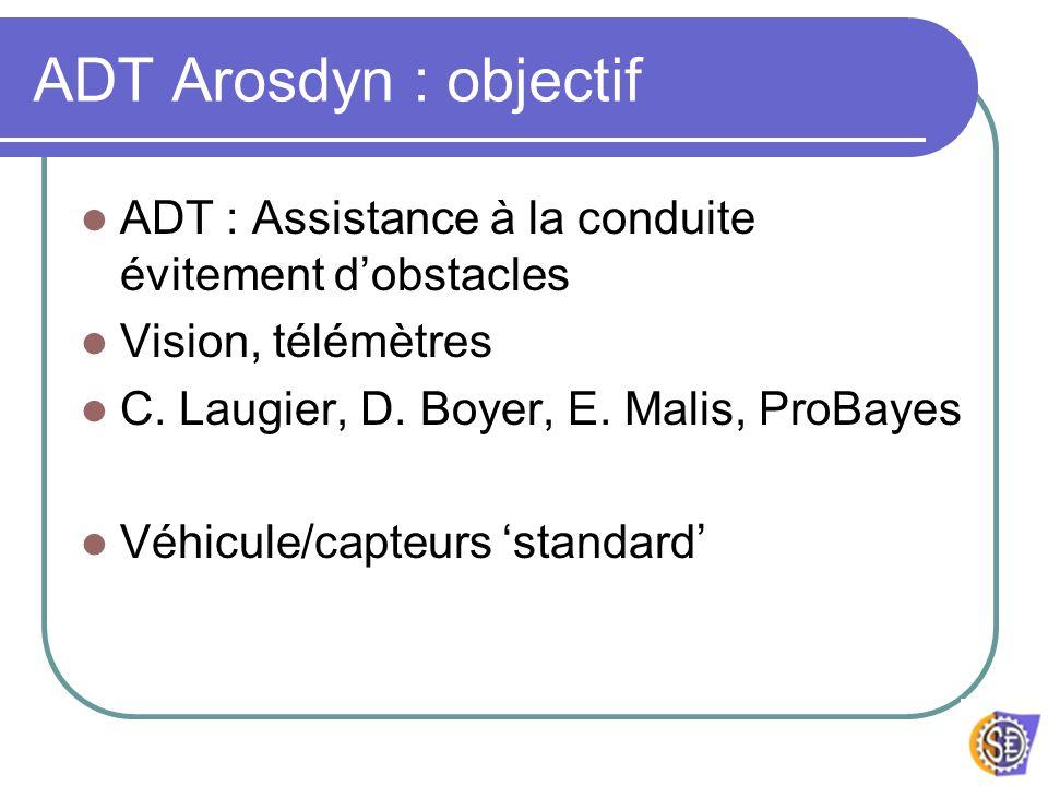 ADT Arosdyn : objectif ADT : Assistance à la conduite évitement d'obstacles. Vision, télémètres. C. Laugier, D. Boyer, E. Malis, ProBayes.
