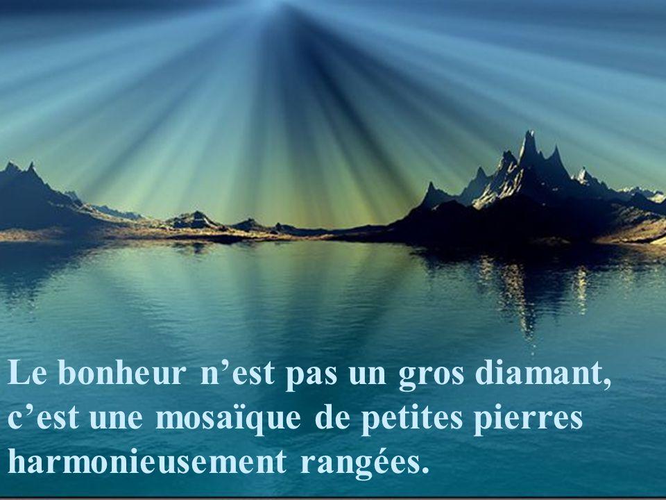 Le bonheur n'est pas un gros diamant, c'est une mosaïque de petites pierres harmonieusement rangées.