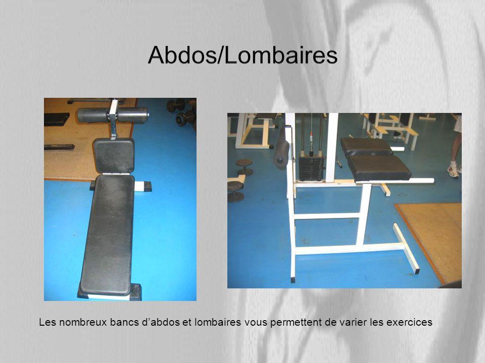 Abdos/Lombaires Les nombreux bancs d'abdos et lombaires vous permettent de varier les exercices