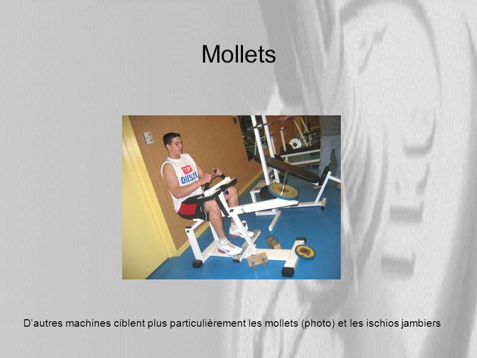Mollets D'autres machines ciblent plus particulièrement les mollets (photo) et les ischios jambiers