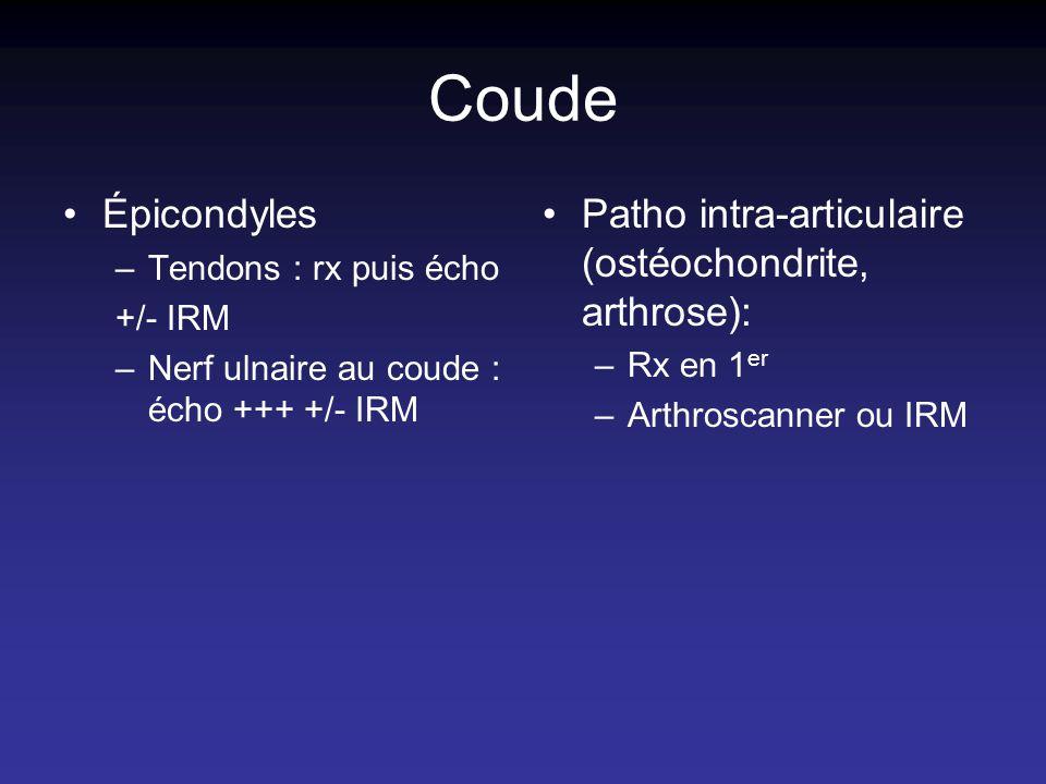 Coude Épicondyles Patho intra-articulaire (ostéochondrite, arthrose):