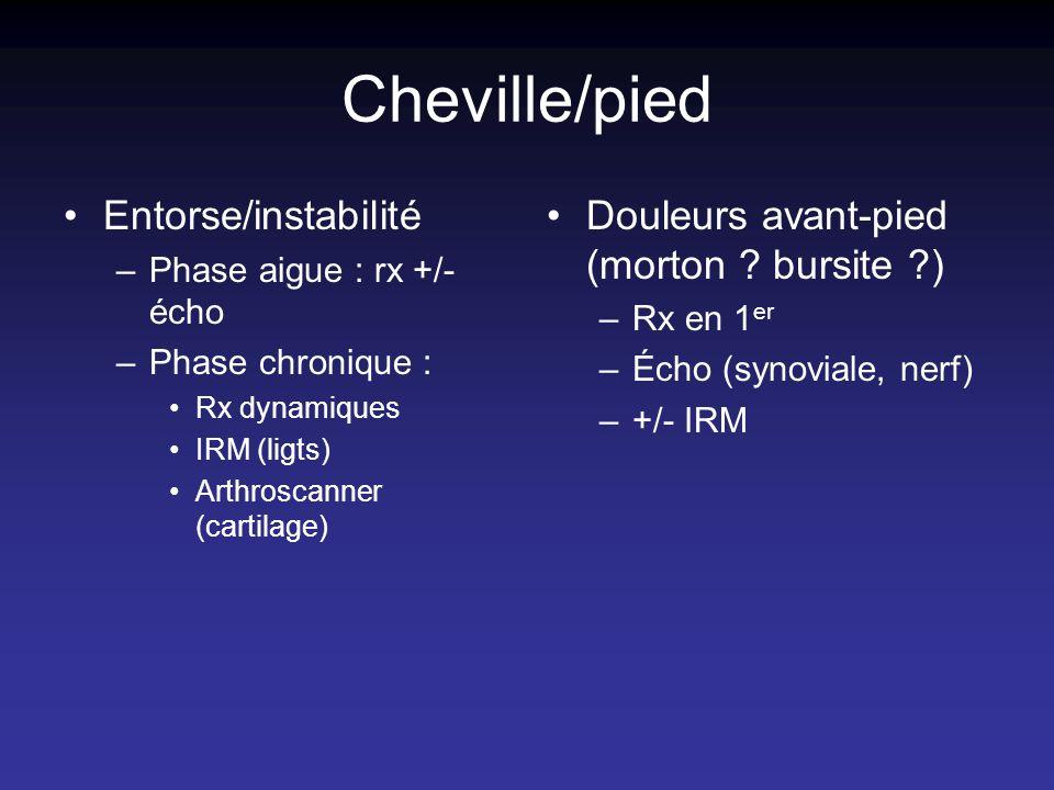 Cheville/pied Entorse/instabilité