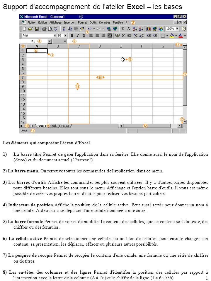 Support d'accompagnement de l'atelier Excel – les bases