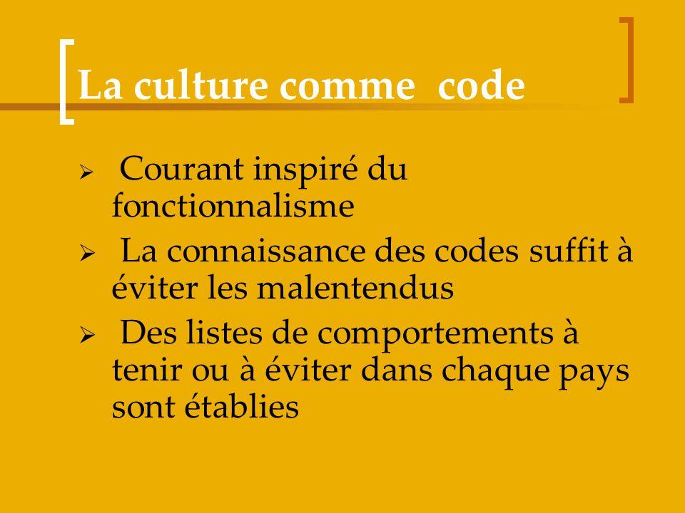 La culture comme code Courant inspiré du fonctionnalisme. La connaissance des codes suffit à éviter les malentendus.