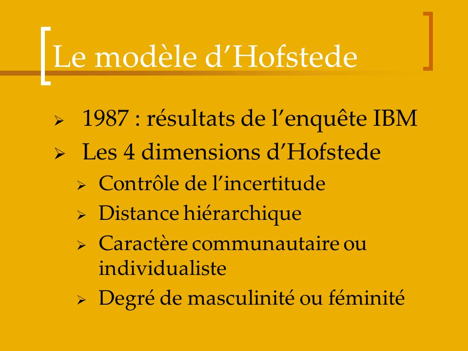 Le modèle d'Hofstede Les 4 dimensions d'Hofstede
