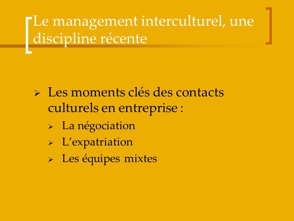 Le management interculturel, une discipline récente